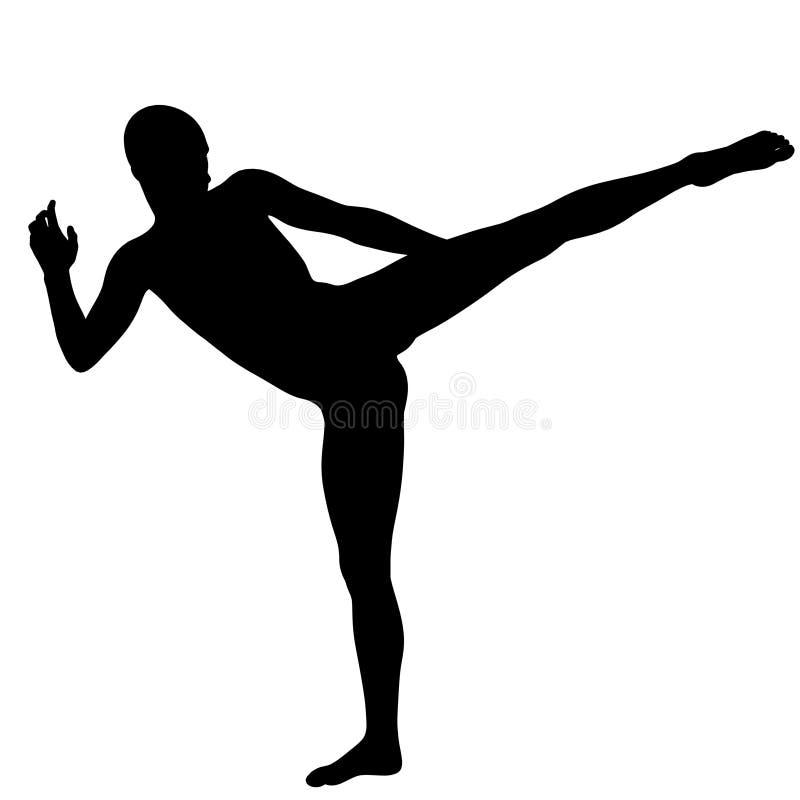 Μια σκιά του νέου και ισχυρού ατόμου Έχει ένα πόδι επάνω απεικόνιση αποθεμάτων