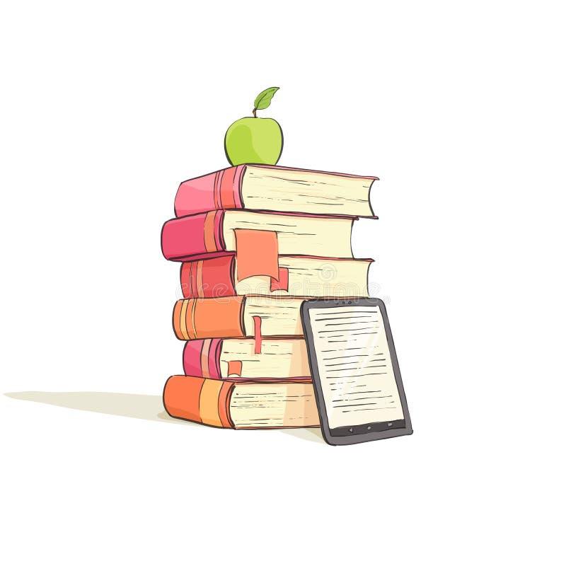 Μια στοίβα των βιβλίων σε μια άσπρη ανασκόπηση διανυσματική απεικόνιση
