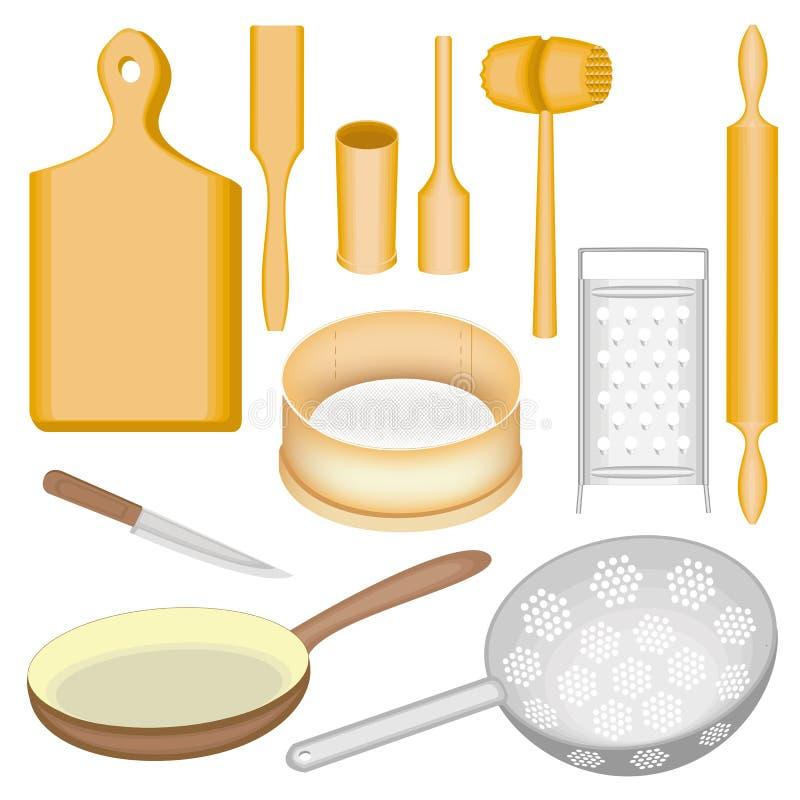 Μια συλλογή των εργαλείων κουζινών Ένα ξύλινα κονίαμα και ένα γουδοχέρι, ένας πίνακας, ένα σφυρί για το κρέας, μια σέσουλα, μια κ ελεύθερη απεικόνιση δικαιώματος