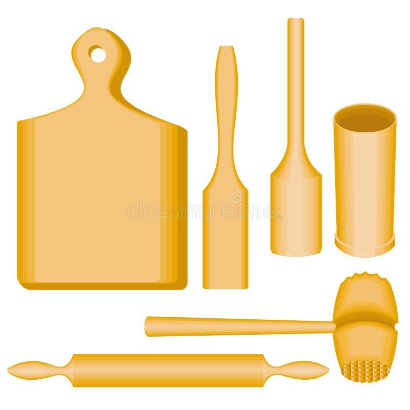 Μια συλλογή των στοιχείων των εργαλείων κουζινών Ένα ξύλινα κονίαμα και ένα γουδοχέρι, ένας πίνακας, ένα σφυρί για το κρέας, spat απεικόνιση αποθεμάτων