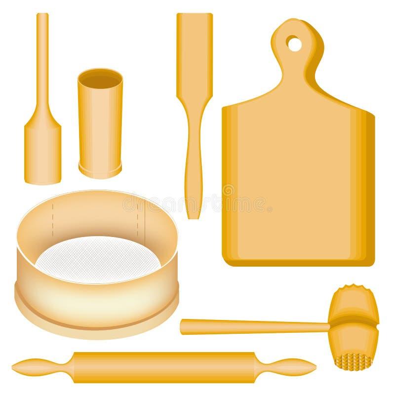 Μια συλλογή των στοιχείων των εργαλείων κουζινών Ένα ξύλινα κονίαμα και ένα γουδοχέρι, ένας πίνακας, ένα σφυρί για το κρέας, spat διανυσματική απεικόνιση