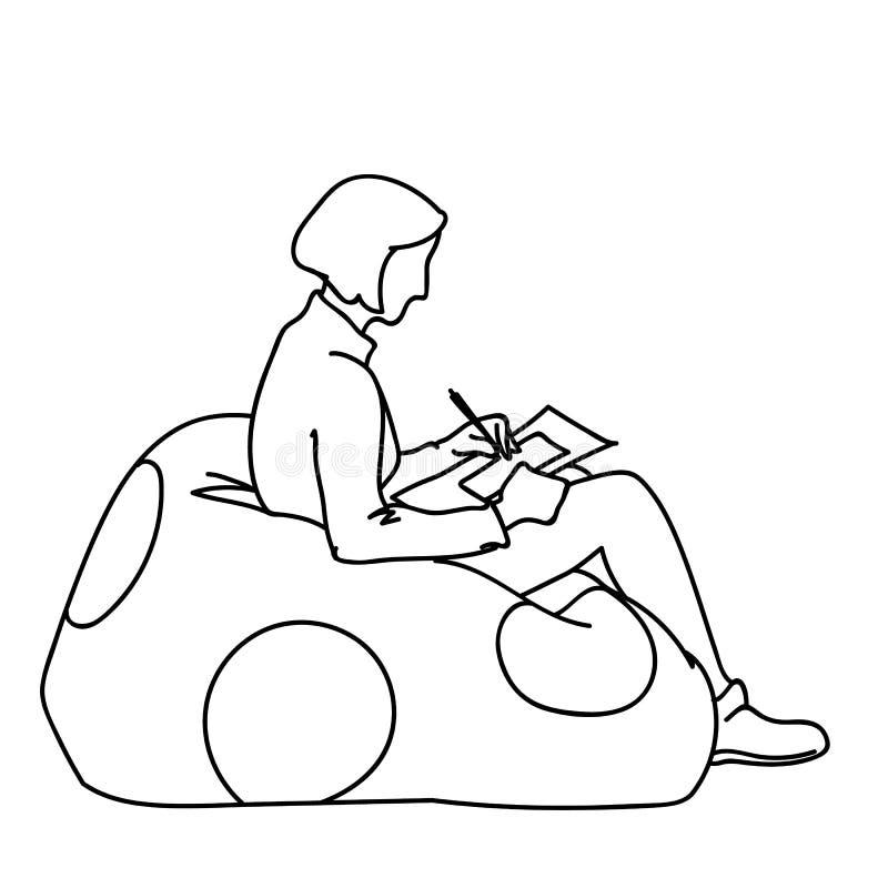 Μια συνεδρίαση γυναικών στο μαλακό μαξιλάρι πουφ με το στρογγυλό ντεκόρ, τετράγωνο σχεδίων σε χαρτί Διανυσματική απεικόνιση του κ ελεύθερη απεικόνιση δικαιώματος