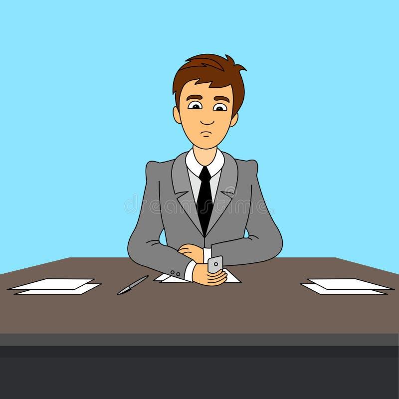 Μια συνεδρίαση επιχειρηματιών πίσω από το γραφείο γραφείων στο γραφείο και κάνει ένα τηλεφώνημα για να καταστήσει την επιχείρησή  απεικόνιση αποθεμάτων