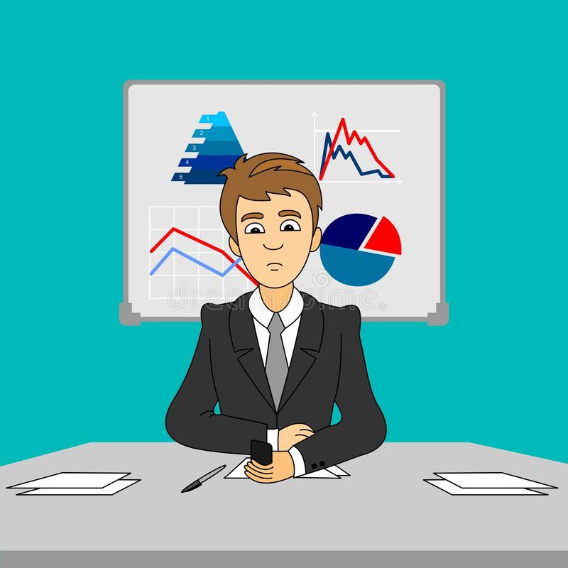Μια συνεδρίαση επιχειρηματιών πίσω από το γραφείο γραφείων στο γραφείο και κάνει ένα τηλεφώνημα για να καταστήσει την επιχείρησή  διανυσματική απεικόνιση