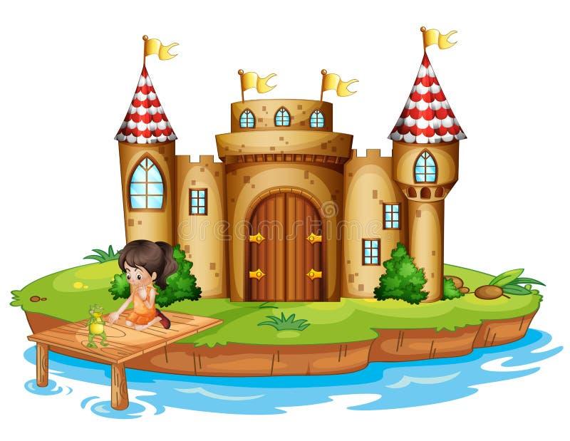 Μια συνεδρίαση κοριτσιών με έναν βάτραχο μπροστά από ένα κάστρο απεικόνιση αποθεμάτων