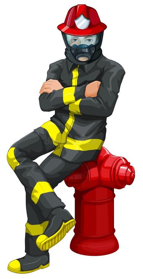Μια συνεδρίαση πυροσβεστών επάνω από το στόμιο υδροληψίας διανυσματική απεικόνιση