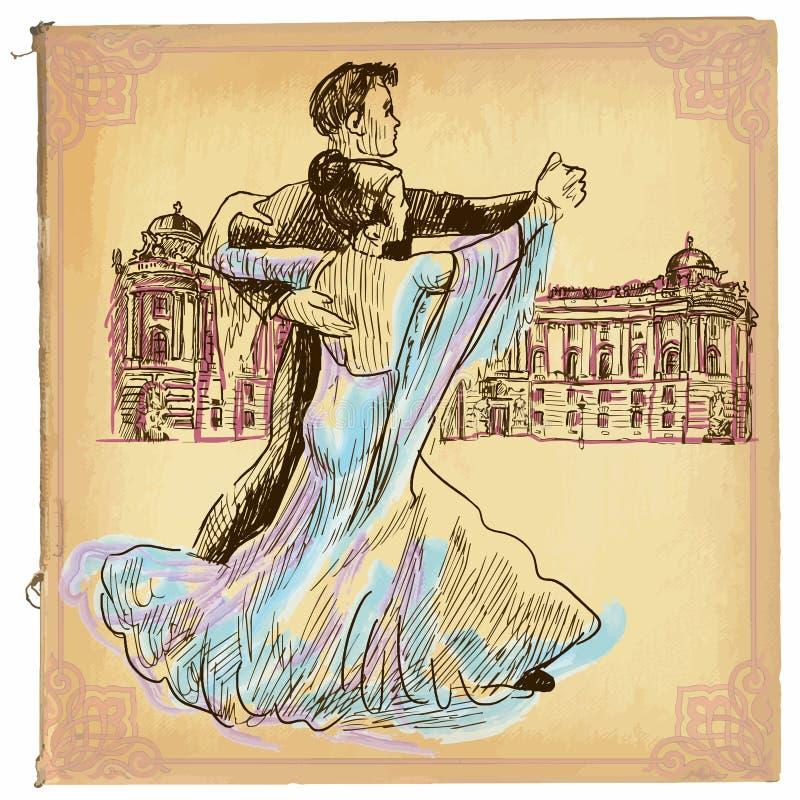 Μια συρμένη χέρι τέχνη διανυσματικών, χρωματισμένων γραμμών - χορός βαλς ελεύθερη απεικόνιση δικαιώματος