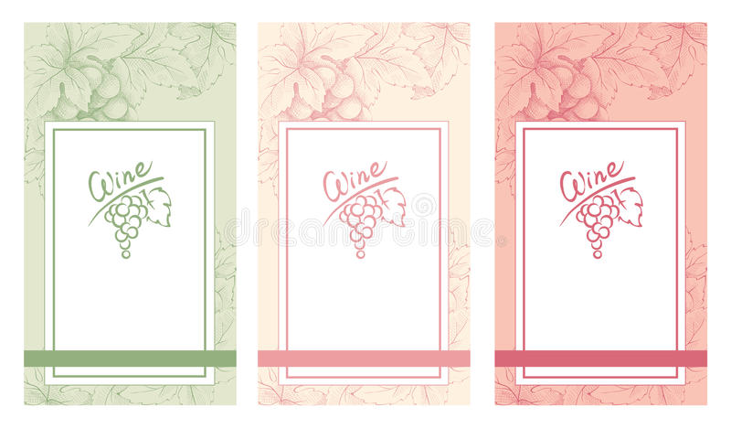Μια συλλογή των κενών των εκλεκτής ποιότητας ετικετών κρασιού ελεύθερη απεικόνιση δικαιώματος