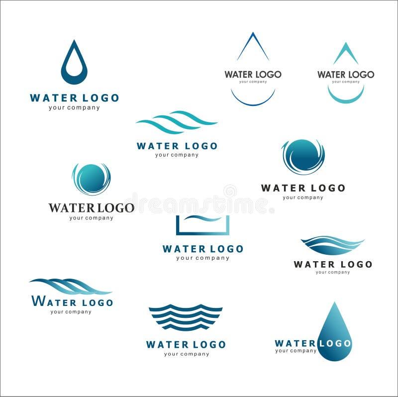 Μια συλλογή των λογότυπων για το νερό και τα υδραυλικά Ένωση νερού διανυσματική απεικόνιση