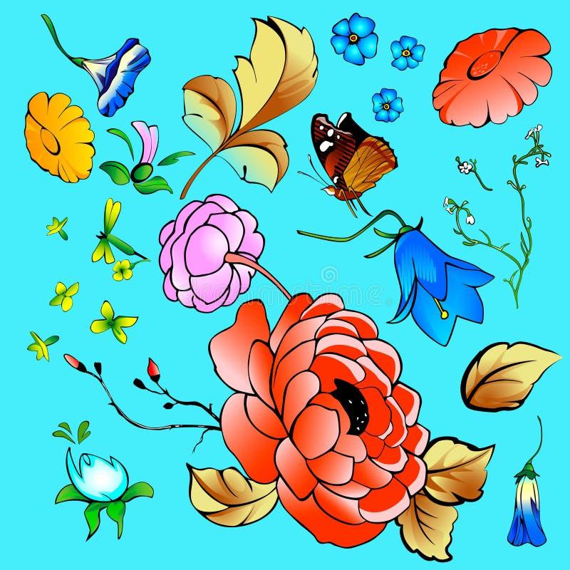 Μια συλλογή των λουλουδιών, φύλλα, πεταλούδα, κλάδοι ελεύθερη απεικόνιση δικαιώματος