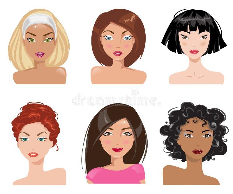 Μια συλλογή των πορτρέτων των γυναικών επίσης corel σύρετε το διάνυσμα απεικόνισης απεικόνιση αποθεμάτων