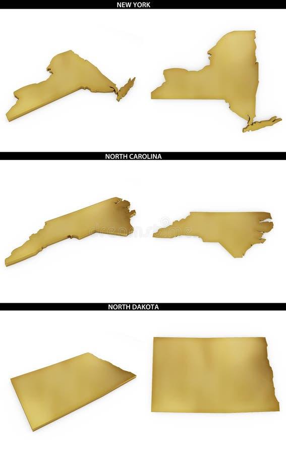 Μια συλλογή των χρυσών μορφών από τα αμερικανικά αμερικανικά κράτη Νέα Υόρκη, βόρεια Καρολίνα, βόρεια Ντακότα απεικόνιση αποθεμάτων