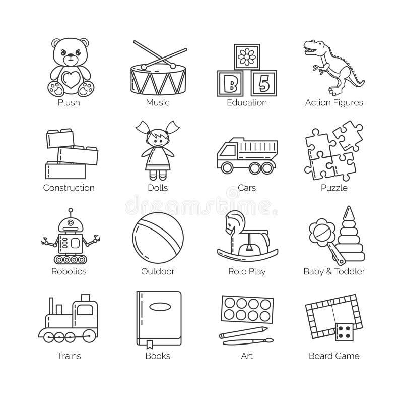 Μια συλλογή των minimalistic λεπτών εικονιδίων γραμμών για τα είδη των διάφορων παιχνιδιών και τις κατηγορίες και τις δραστηριότη απεικόνιση αποθεμάτων