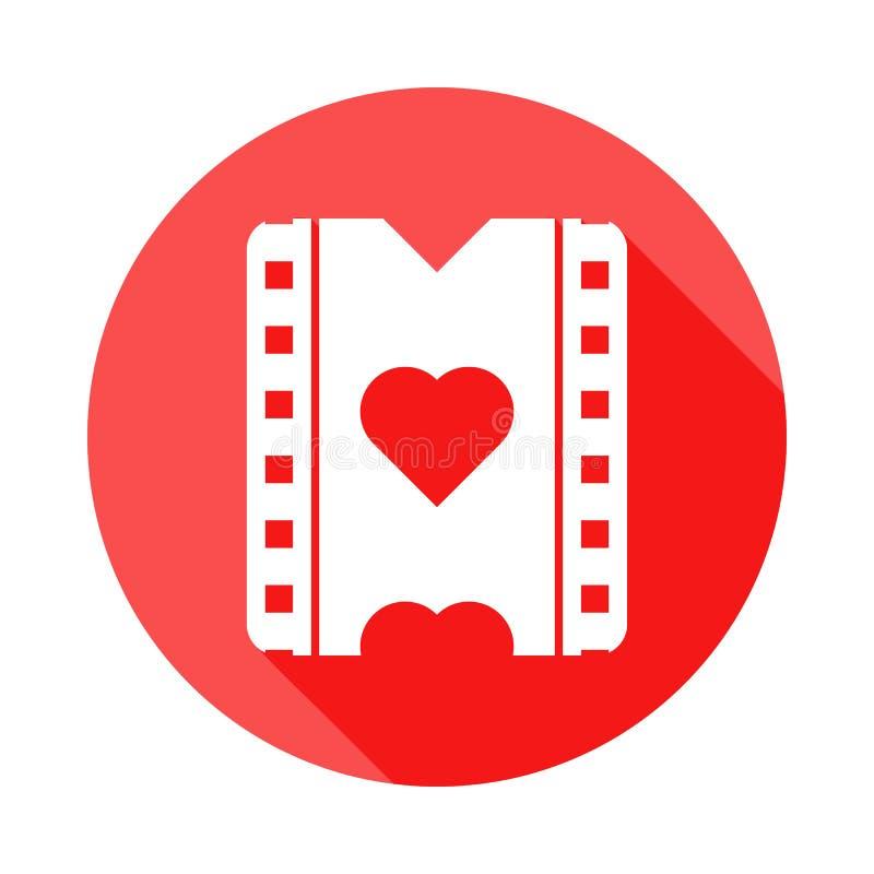 μια ταινία με ένα εικονίδιο καρδιών στην επίπεδη, μακριά σκιά διανυσματική απεικόνιση