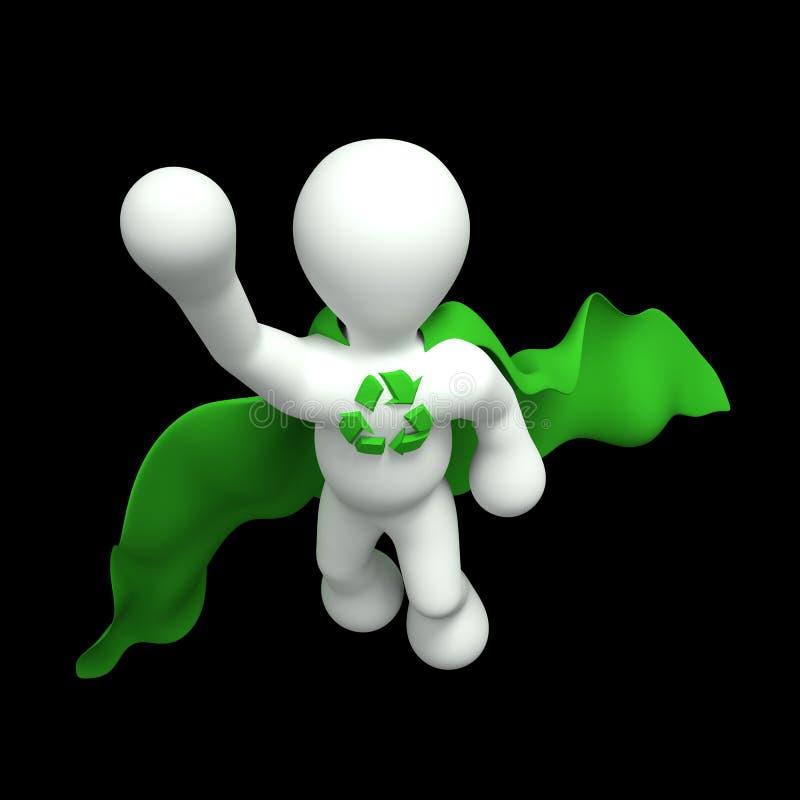Μια τρισδιάστατη εικόνα ενός έξοχου που εδώ έχει ένα σύμβολο ανακύκλωσης στο στήθος του και ένα πράσινο ακρωτήριο. στοκ φωτογραφία