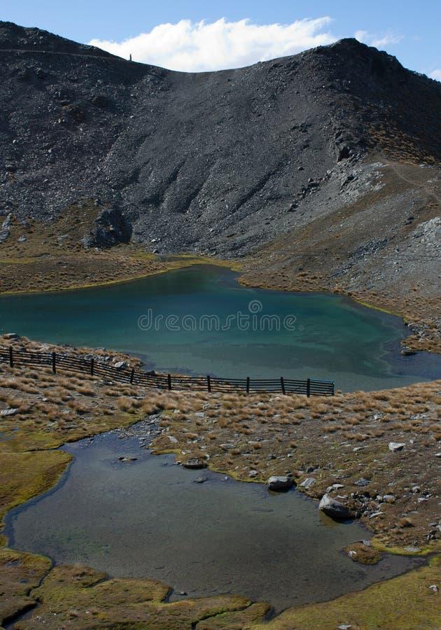 Μια τυρκουάζ λίμνη στην κορυφή του χιονοδρομικού κέντρου Remarkables κοντά σε Queenstown στη Νέα Ζηλανδία στοκ φωτογραφία