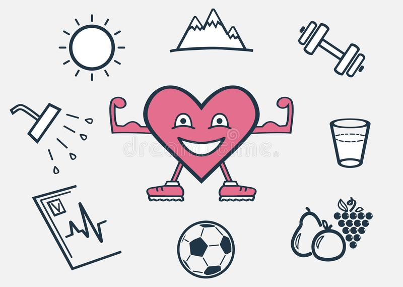 Μια υγιής, ευτυχής καρδιά διανυσματική απεικόνιση