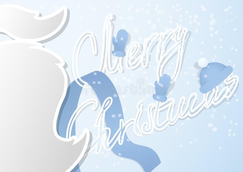 Μια φανταχτερή κάρτα Χριστουγέννων με το mustache και χειροποίητη πηγή περιλήψεων σε ένα σύγχρονο επίπεδο σχέδιο ελεύθερη απεικόνιση δικαιώματος