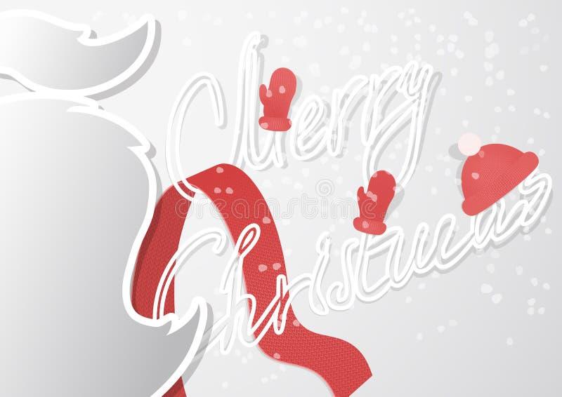 Μια φανταχτερή κάρτα Χριστουγέννων με το mustache και χειροποίητη πηγή περιλήψεων σε ένα σύγχρονο επίπεδο σχέδιο απεικόνιση αποθεμάτων