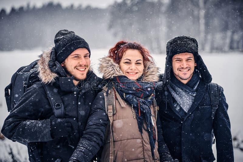 Μια φιλική επιχείρηση που ταξιδεύει στο δάσος χιονιού στοκ φωτογραφίες με δικαίωμα ελεύθερης χρήσης