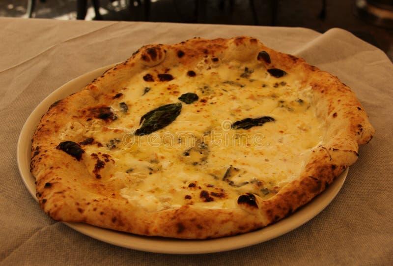 Μια φρέσκια ψημένη πίτσα στη Νάπολη στοκ εικόνα