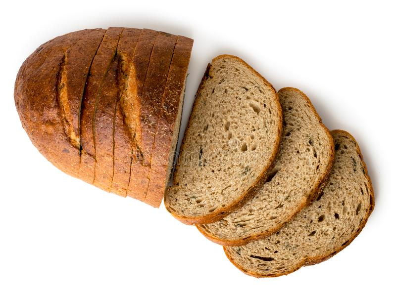 Μια φραντζόλα του γκρίζου τεμαχισμένου ψωμιού σε ένα λευκό, που απομονώνεται κορυφαία όψη στοκ εικόνες με δικαίωμα ελεύθερης χρήσης