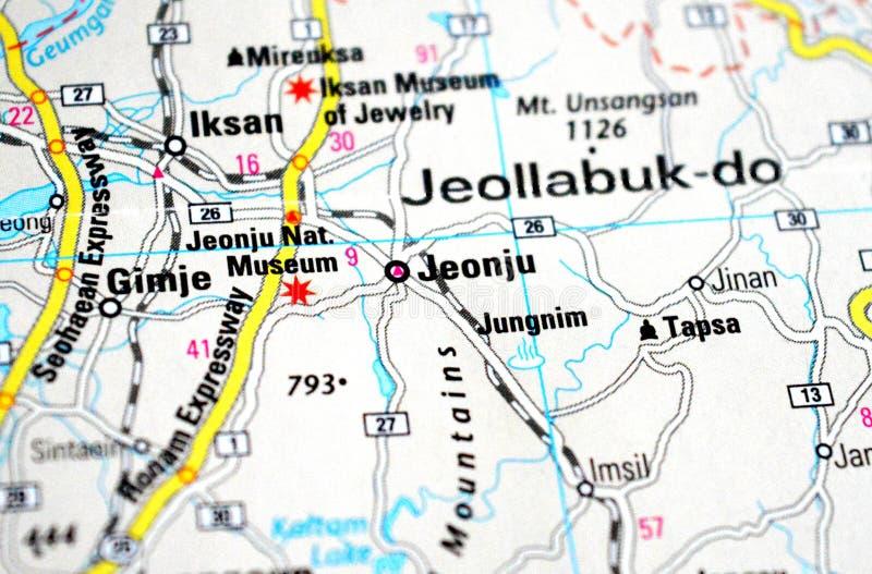 Μια φωτογραφία Jeonju σε έναν χάρτη στοκ φωτογραφία
