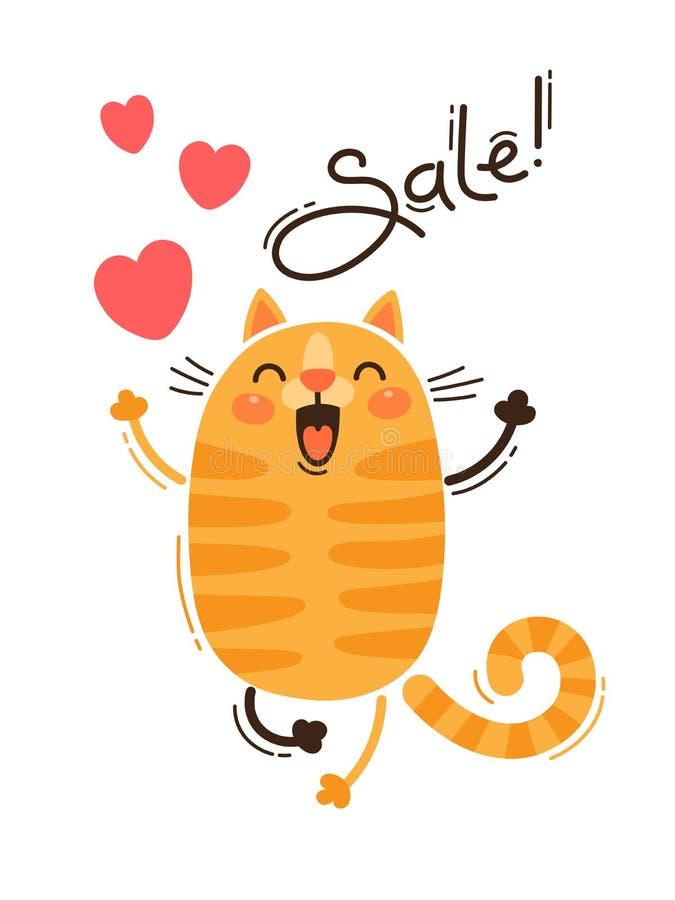 Μια χαρούμενη γάτα εκθέτει μια πώληση Διανυσματική απεικόνιση στο ύφος κινούμενων σχεδίων διανυσματική απεικόνιση