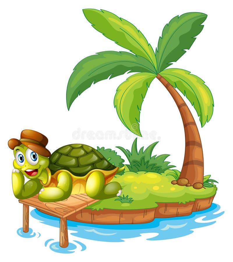 Μια χελώνα που προσαράσσουν σε ένα νησί διανυσματική απεικόνιση