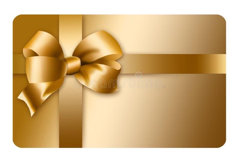 Μια χρυσή κάρτα δώρων με ένα χρυσές τόξο και μια κορδέλλα απεικονίζεται εδώ απομονωμένος στο υπόβαθρο απεικόνιση αποθεμάτων