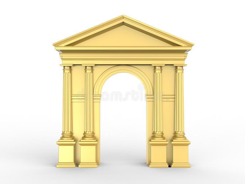 Μια χρυσή κλασική αψίδα, arcade με τις κορινθιακές στήλες, δωρικά pilasters που απομονώνονται στο λευκό απεικόνιση αποθεμάτων