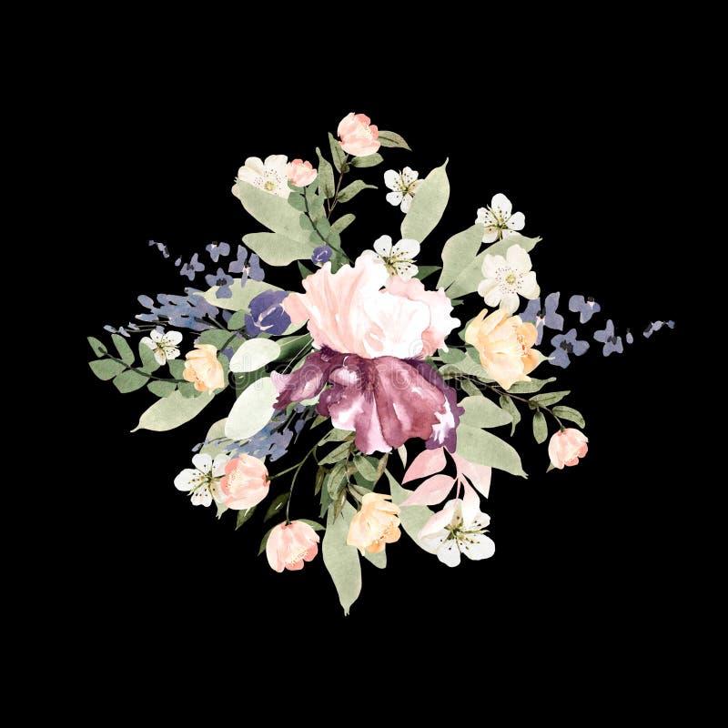 Μια όμορφη ανθοδέσμη watercolor με τα τριαντάφυλλα και την ίριδα ανθίζει απεικόνιση αποθεμάτων