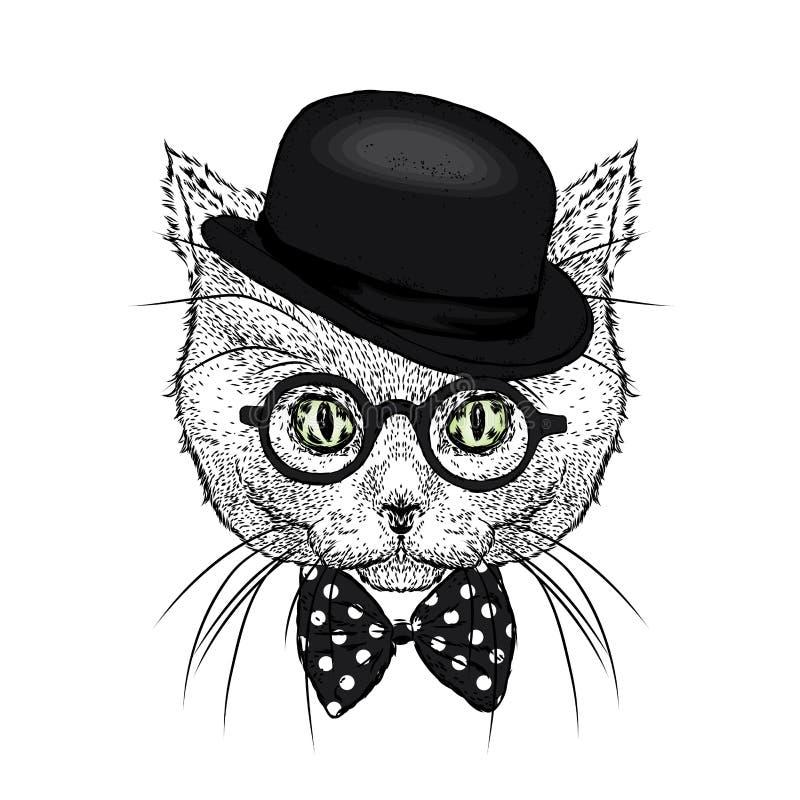 Μια όμορφη γάτα με ένα καπέλο και έναν δεσμό αστείο γατάκι επίσης corel σύρετε το διάνυσμα απεικόνισης ελεύθερη απεικόνιση δικαιώματος