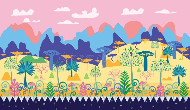 Μια όμορφη μαγική δασική απεικόνιση σκηνής, δασικά temp φαντασίας διανυσματική απεικόνιση