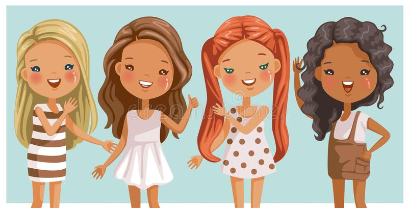 Μικρά κορίτσια μακρυμάλλη απεικόνιση αποθεμάτων