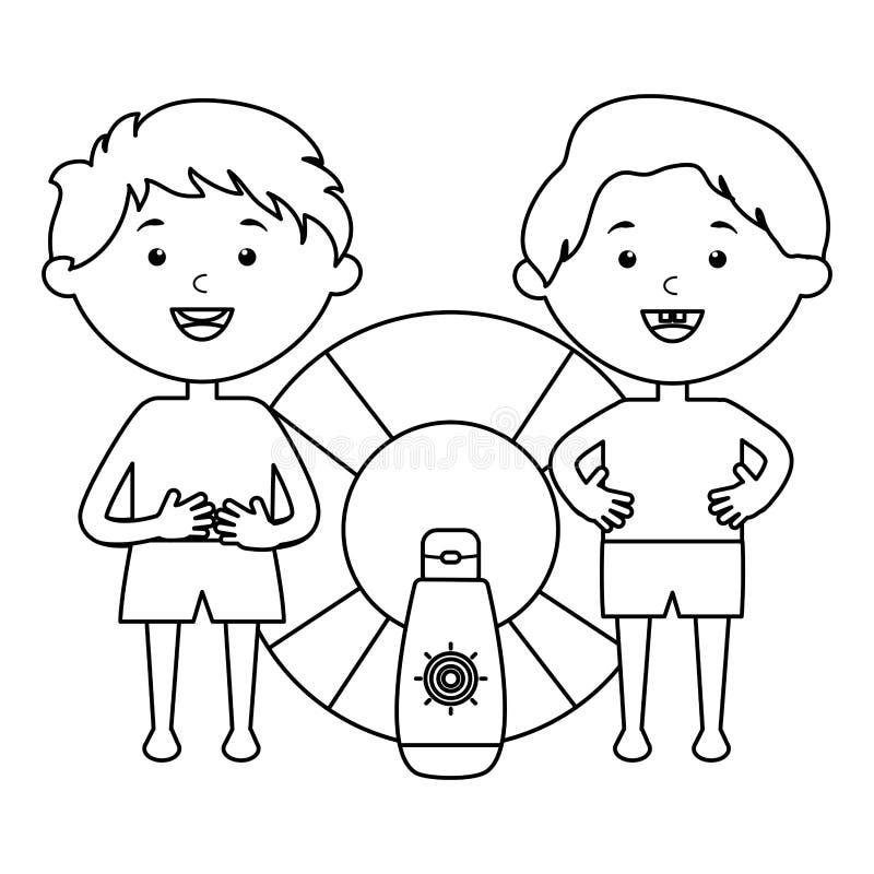 Μικρά παιδιά με το επιπλέον σώμα και το ηλιακό blocker προϊόν απεικόνιση αποθεμάτων