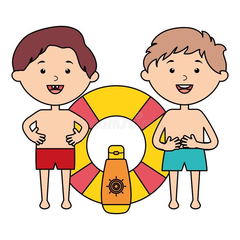 Μικρά παιδιά με το επιπλέον σώμα και το ηλιακό blocker προϊόν διανυσματική απεικόνιση
