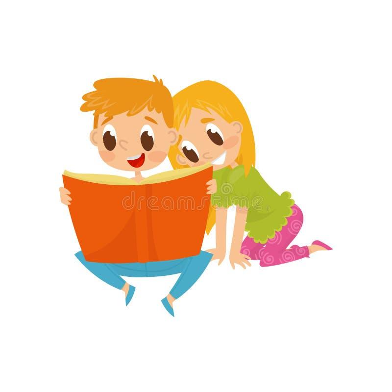 Μικρά παιδιά που διαβάζουν το βιβλίο με τα παραμύθια Χρόνος εξόδων αδελφών και αδελφών από κοινού παιδική ηλικία ευτυχής Επίπεδο  διανυσματική απεικόνιση