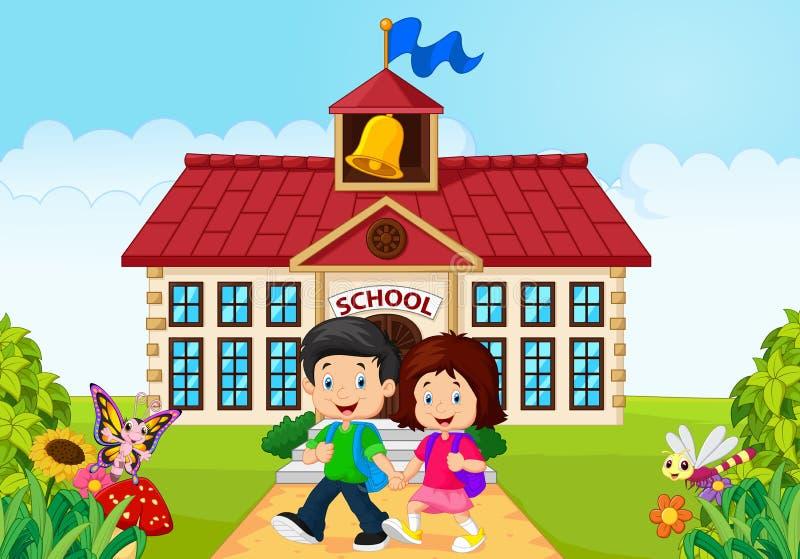 Μικρά παιδιά κινούμενων σχεδίων που εγκαταλείπουν το σχολείο ελεύθερη απεικόνιση δικαιώματος