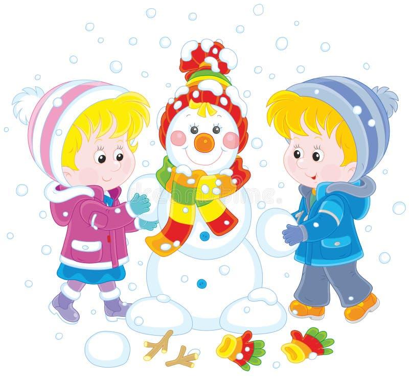 Μικρά παιδιά που κάνουν έναν αστείο χιονάνθρωπο Χριστουγέννων διανυσματική απεικόνιση