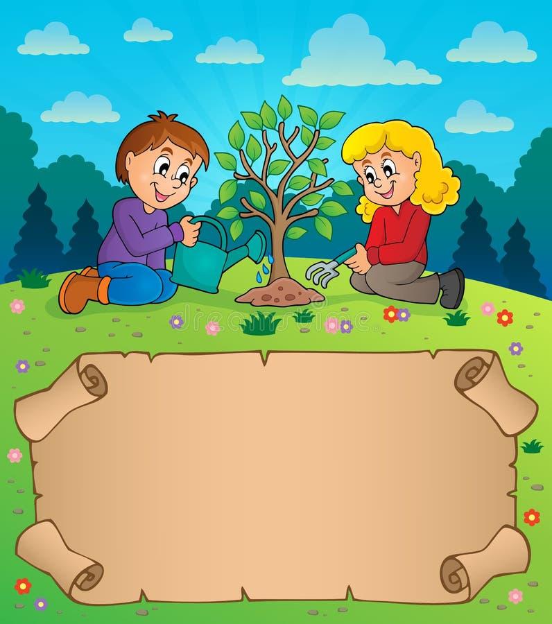 Μικρά περγαμηνή και παιδιά που φυτεύουν το δέντρο ελεύθερη απεικόνιση δικαιώματος