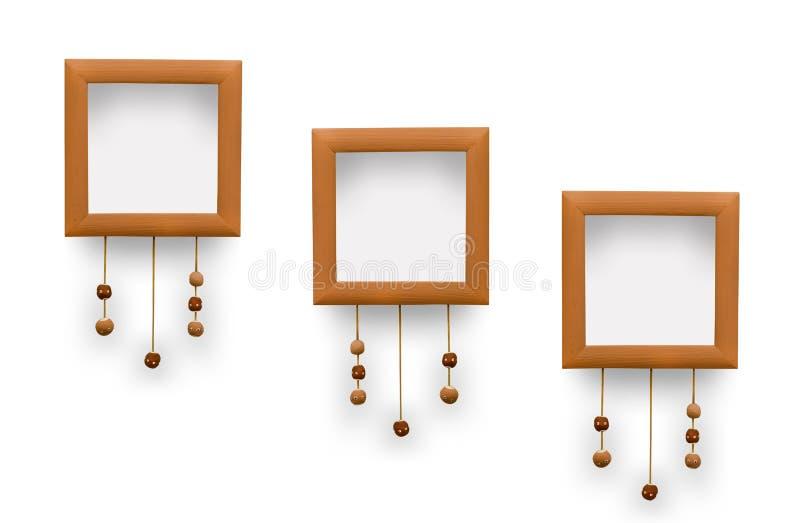 Μικρά πλαίσια φωτογραφιών Διακοσμητικές δαντέλλες με τις χάντρες του αργίλου διανυσματική απεικόνιση