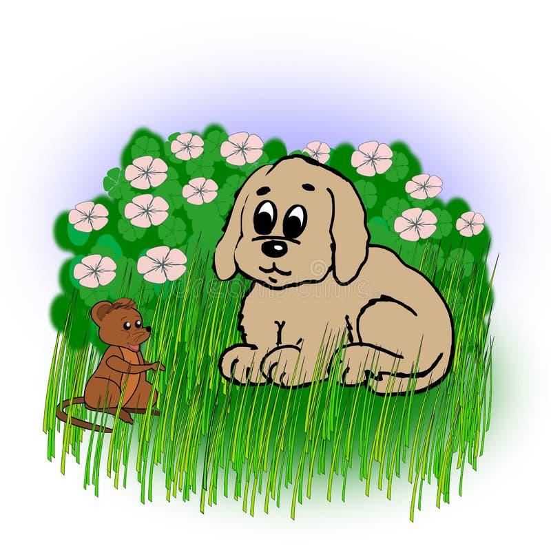 Μικρά σκυλί και ποντίκι διανυσματική απεικόνιση