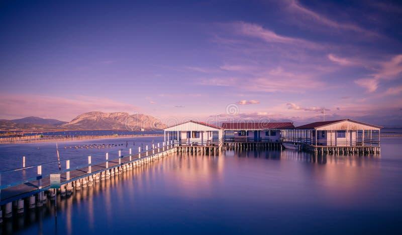 Μικρά σπίτια αλιείας στα ξυλοπόδαρα στη λίμνη Mesologgi στοκ εικόνα με δικαίωμα ελεύθερης χρήσης