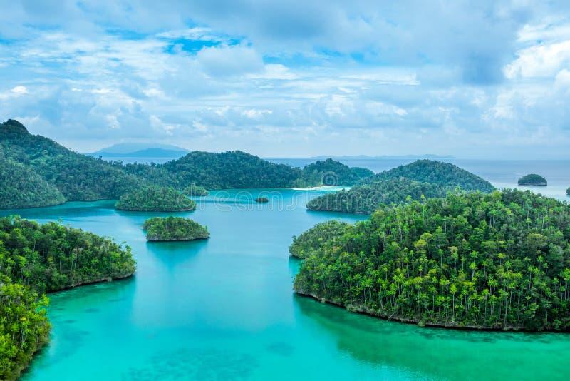 Μικρά τροπικά νησιά με το δασικό και νεφελώδη ουρανό στοκ εικόνες