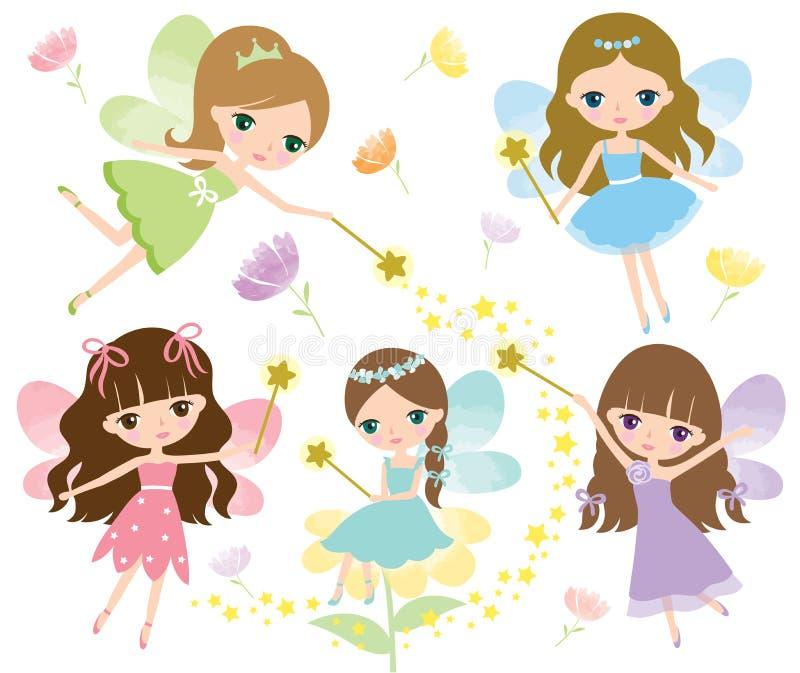 Μικρές νεράιδες στο ζωηρόχρωμο φόρεμα με τα φτερά watercolor, τη μαγική ράβδο και το διάνυσμα λουλουδιών ελεύθερη απεικόνιση δικαιώματος