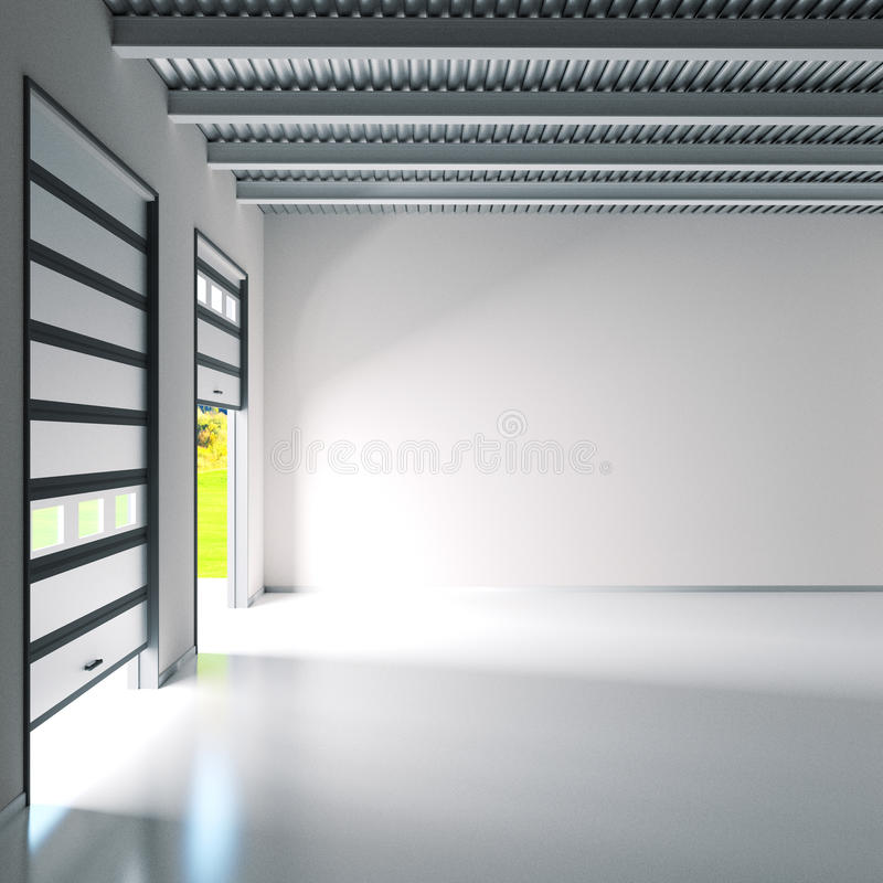 Μικρή αίθουσα βιομηχανίας με τις πόρτες κυλίνδρων στοκ φωτογραφία με δικαίωμα ελεύθερης χρήσης