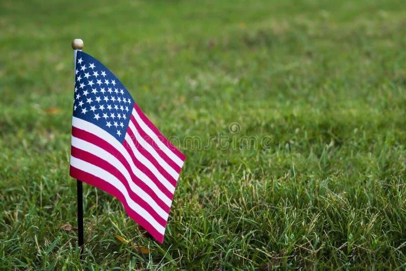 Μικρή αμερικανική σημαία στη χλόη στοκ εικόνες