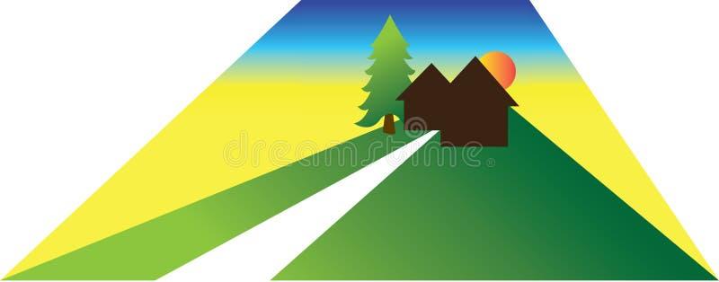 Μικρή απεικόνιση σπιτιών ή καμπινών διανυσματική απεικόνιση