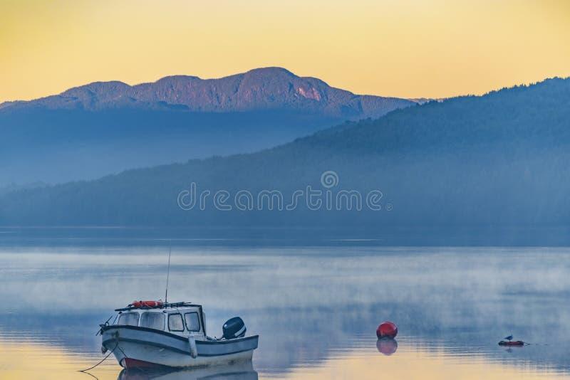 Μικρή βάρκα που σταθμεύουν στη λίμνη, Puyuhuapi, Χιλή στοκ εικόνα με δικαίωμα ελεύθερης χρήσης